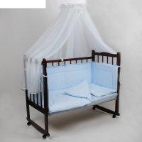 Комплект в кроватку 7 предмета горошки голбтой 10703