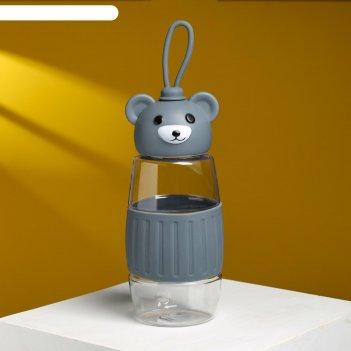 Бутылка для воды мишка 350 мл, микс