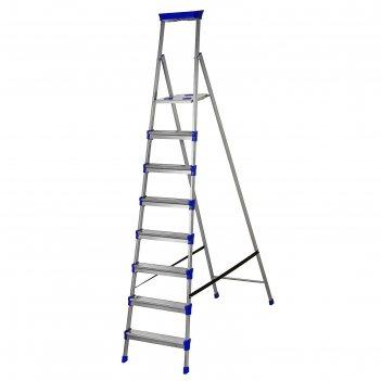 Стремянка металлическая, 8 широких ступеней, высота до рабочей площадки 17