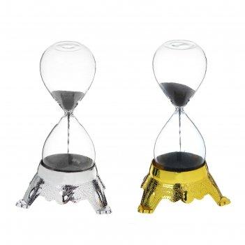 Часы песочные металлическая стружка магнит подставка пластик микс 8х8х14 с
