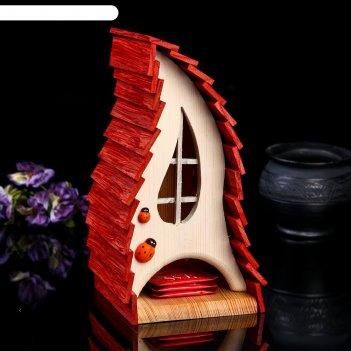 Чайный домик красный чулок, 14*14*26см; материал: дуб, сосна; покрытие: ак