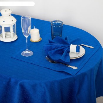 Набор столовый этель ромбы цв. синий (скатерть 140*220,салф 40*40-8шт), 10