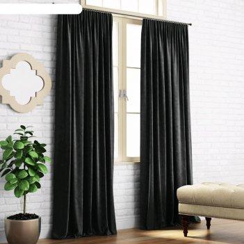 Комплект штор «ким», размер 140 x 270 см-2 шт, чёрный