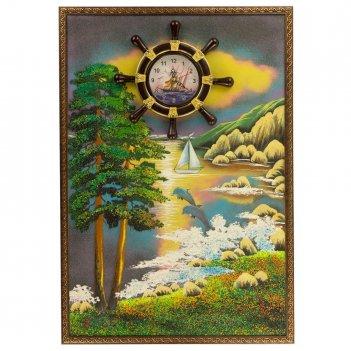 Часы с картиной дельфины на закате 45х65 см