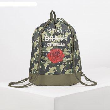 Мешок для обуви с карманом 540 х 410, оникс, «роза милитари»