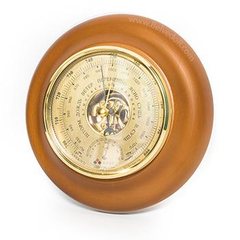 Барометр термометр бтк-сн 18,шлифованное золото  размер 21х5см