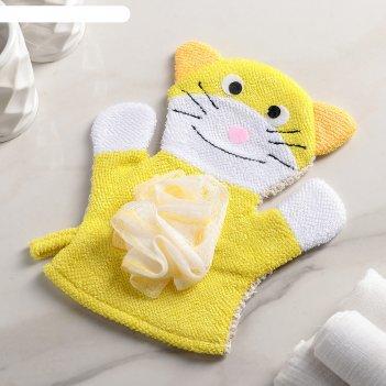 Мочалка варежка детская котик