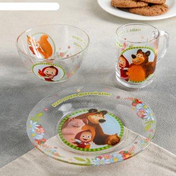 Набор посуды детский маша и медведь. добрый день, 3 предмета: кружка 250 м