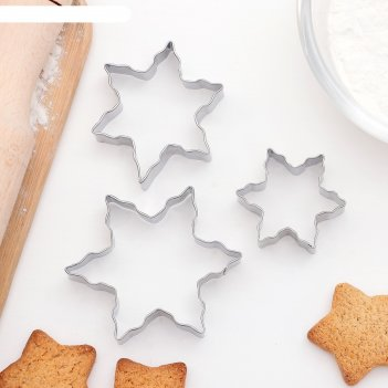 Набор форм для вырезания печенья 6,5х6,5 см снежинки, 3 шт