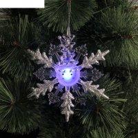 Подвеска световая снежинка снеговик (батарейки в комплекте) 1 led, rgb, се