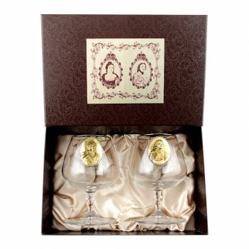 Набор царский-5: два бокала для коньяка 420 мл с зол. отводкой,  декоратив