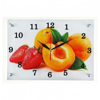 Часы настенные, серия: кухня, абрикосы и клубника, 25х35  см, микс