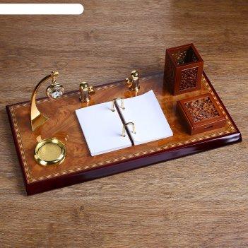 Набор настольный: часы, блок для бумаги, перекидные листы, визитница, лото