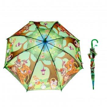 Зонт детский полуавтоматический тигрёнок и компания, r=39см, цвет зелёный