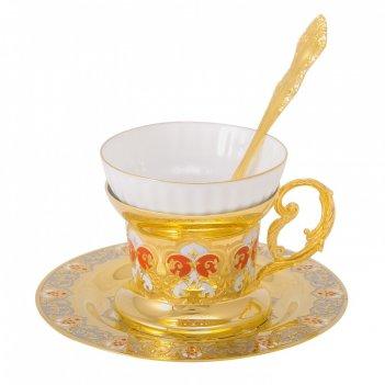 Набор чайный яблочко наливное ( тарель, чашка, ложка) златоуст