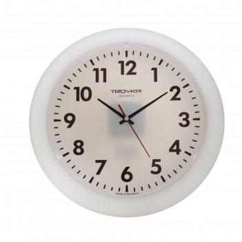 Часы настенные круглые классика в белом, d=30,5 см, выпуклое стекло, белые