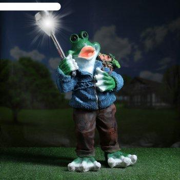 Садовый фонарь лягушонок в свитере с фонарем 58см
