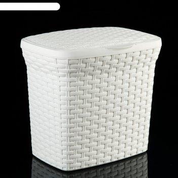 Контейнер для стирального порошка 10 л ротанг, цвет белый