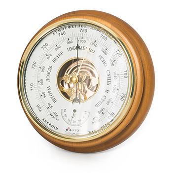 Барометр термометр бтк-сн 8, белый циферблат, 21х5см