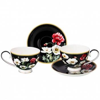 Чайный набор на 2 персоны маки 4 пр. 250 мл черный (кор=18наб.)