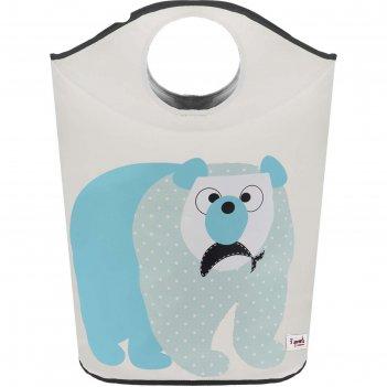 Корзина для белья 3 sprouts «полярный медведь», цвет синий