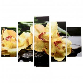 Модульная картина на подрамнике жёлтая орхидея 150х100 см ( 2-30х60; 2-30х