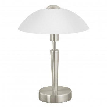 Настольная лампа solo 1x60вт e14 никель 26x26x35см