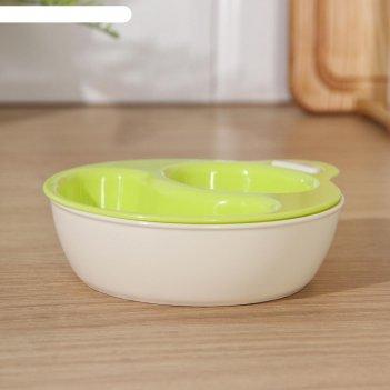 Набор мисок для свч yamada, 2 шт, 12,3x14,4x3,3 см, цвет зелёный