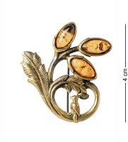 Am-1628 брошь цветок с птичкой (латунь, янтарь)