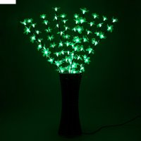 Светодиодная ваза 80х16 см, цветок сакуры 72 led, 220v, фиксин, зеленый