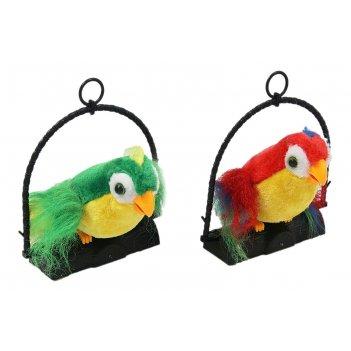 Мягкая игрушка механическая попугай пушистый повторюшка, цвета микс