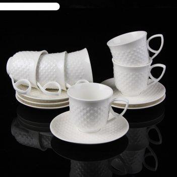 Сервиз кофейный циана, 12 предметов: 6 чашек 150 мл 11х8,5х6,9 см, 6 блюде