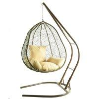 Подвесное кресло на стойке капри, коричневое/бежевая