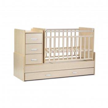 Кровать детская скв-5, опуск.бок., маятник, 4  ящика, береза
