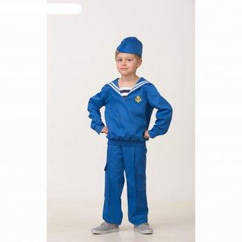 Карнавальный костюм матрос, матросска, брюки, пилотка, р.36, рост 146