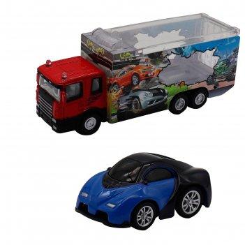 Набор грузовик + машинка die-cast, синяя, спусковой механизм