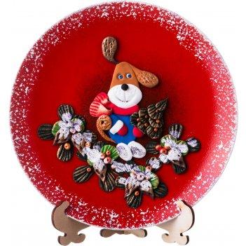 Тарелка декоративная символ года 2018 собака на красном фоне диаметр=20 см
