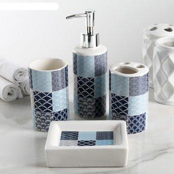 Набор аксессуаров для ванной комнаты, 4 предмета разводы, цвет микс