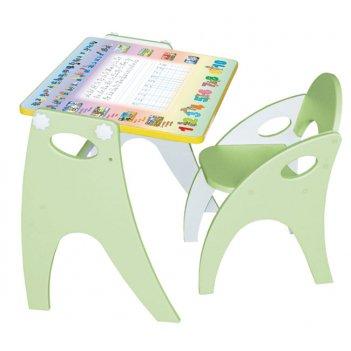 Стол-парта-мольберт (трансформер) цвет фисташковый аппликация буквы-цифры