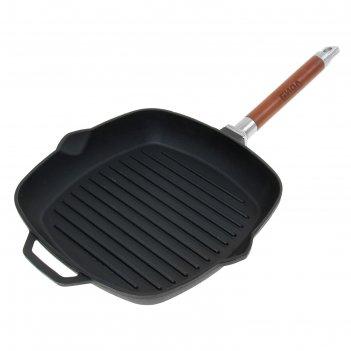 Сковорода-гриль чугунная 26х26 см со съемной ручкой