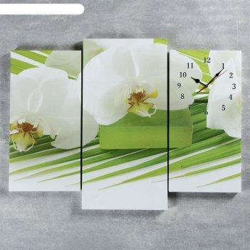 Часы настенные модульные «белые цветы», 60 x 80 см