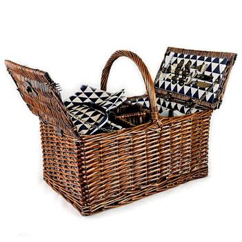 Корзина для пикника на 4 персоны с отделением под 3 бутылки (ива)