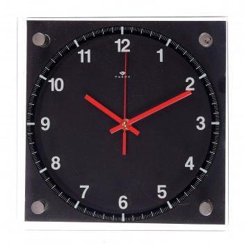 Часы настенные чёрная классика, 25х25 см