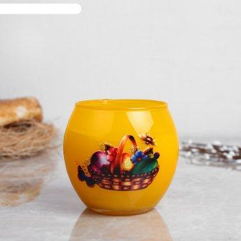 Свеча парафиновая в стекле с пасхальным декором,