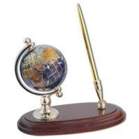 Глобус настольный каменный на деревянной подставке с ручкой