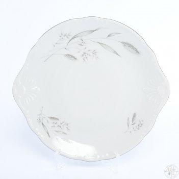 Тарелка для торта thun констанция серебряные колосья 27 см