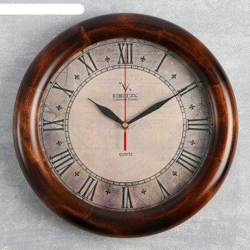 Часы настенные круглые римские цифры, деревянные