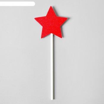 Топпер красная звёздочка, (набор 6 шт.)