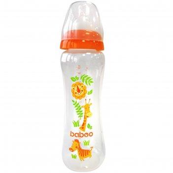 Бутылочка baboo с соской силик. (узкая)  330 мл. safari, 3 мес+