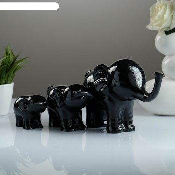 Фигура семья слонов набор черный 57х15х9см
